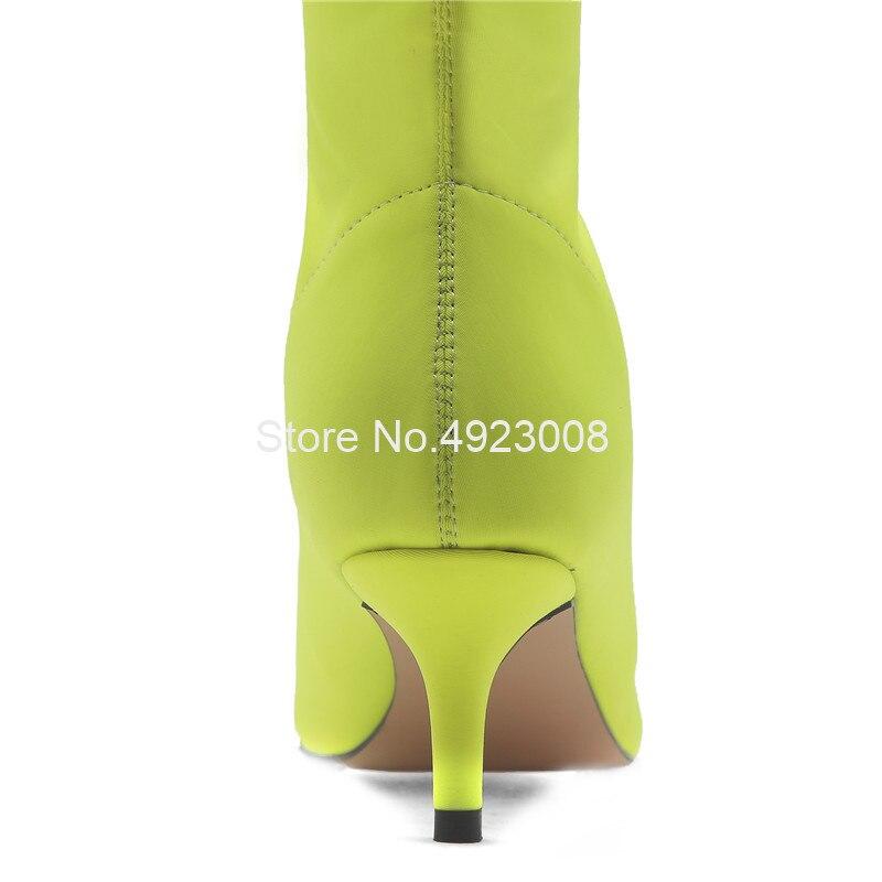 Эластичные зеленые сапоги из лайкры женские сапоги выше колена на среднем каблуке 5,5 см новые демисезонные сапоги до бедра без застежки Бол... - 4