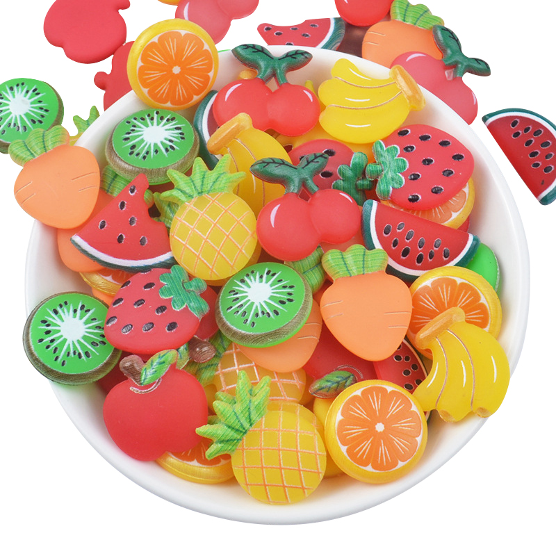 20Pcs Flat Back Plastic Fruit Watermelon Pineapple DIY Resin Hair Jewelry Bows Bow Clip Accessories Plastic Cabochons Decoration