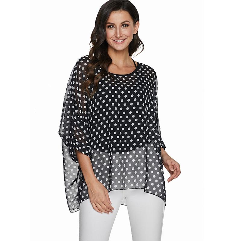 BHflutter Plus Size Women 2020 Fashion Polka Dot Print Black Blouse Shirt Vintage Casual Summer Shirts Chiffon Tops Tees Blusas