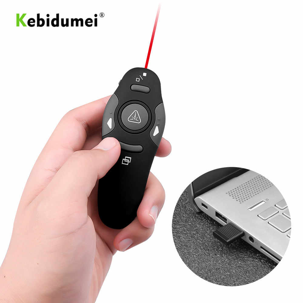 Kebidumei 2.4GHz RF מצביע עט אלחוטי USB Power Point מגיש שלט רחוק לייזר ברחבי העולם