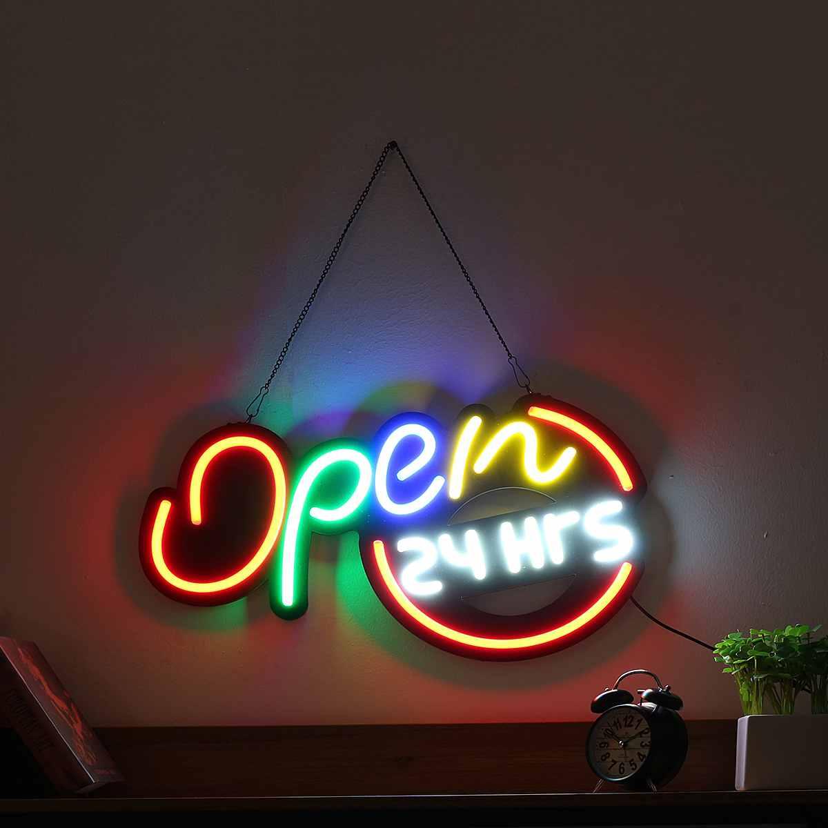 Enseigne au néon ouverte Tube de lumière LED à la main illustration visuelle Bar Club KTV décoration murale néon ampoules éclairage Commercial artisanat