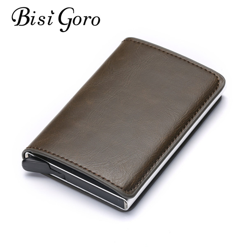 Card Wallet Business RFID Bisi Goro Credit Crazy-Horse Vintage Unisex PU Single-Box Metal