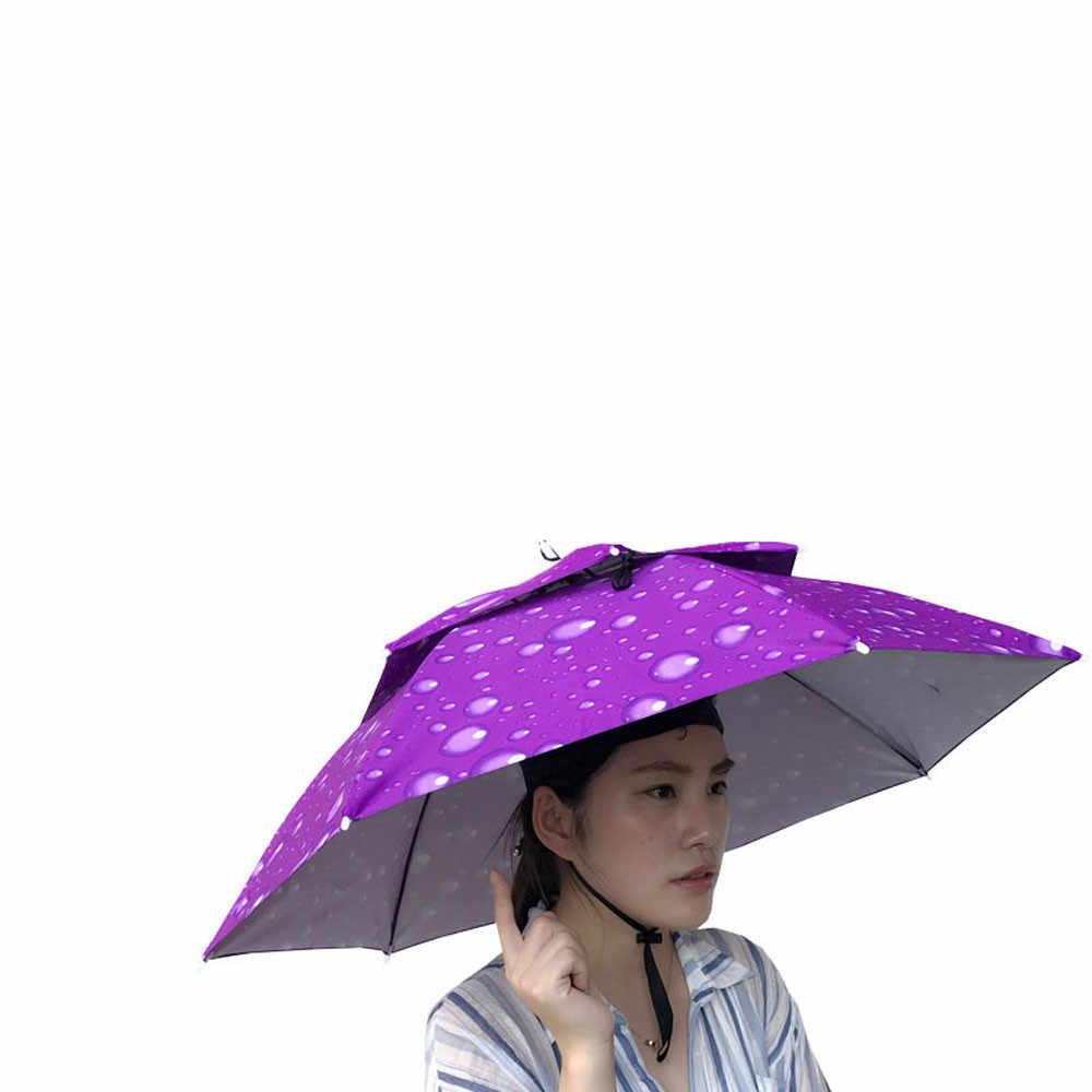 Protection solaire particulière casquette parapluie Double couche extérieur pliable Double parapluie soleil pluie Camping chapeau de pêche # guahao