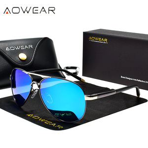 Image 3 - AOWEAR Aviation Polarized Sunglasses Men Driving Mirror Sun Glasses Male Brand Design Classic Pilot Eyewear Oculos Gafas De Sol