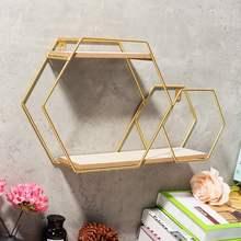 Ferro metal prateleira de parede hexagonal geométrico ouro rack armazenamento pendurado display titular para cozinha banheiro decoração para casa prateleirasRacks e suportes de armazenamento