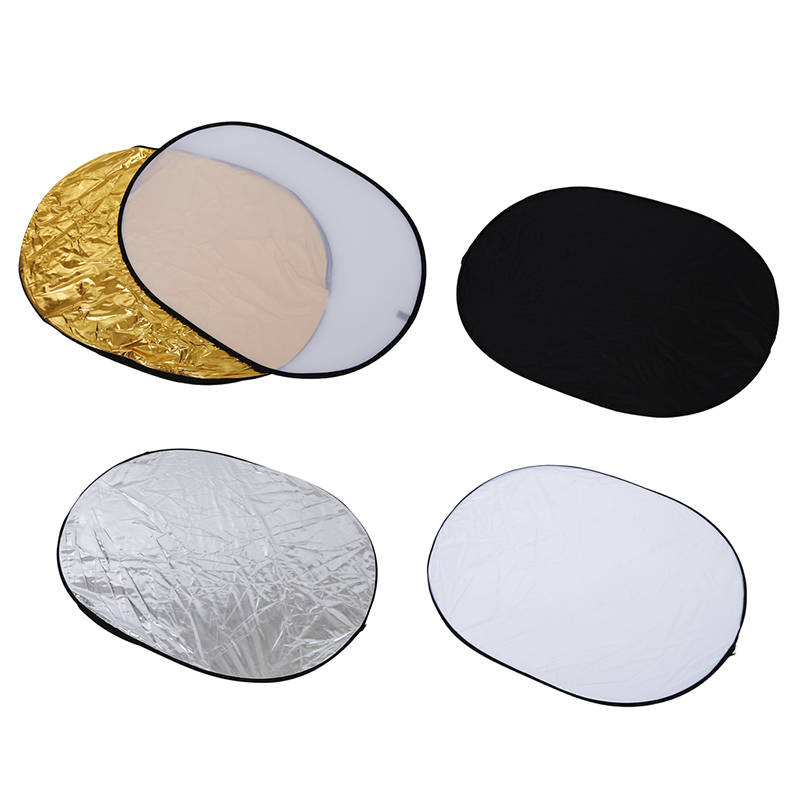 5 in 1 collapsible reflector oval photo studio <font><b>90</b></font> x <font><b>120</b></font> cm (35