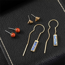 3Pair Color Bohemian Natural Stone Stud Earrings Pearl Opal Alloy Copper Chain Multi-pair Ear Nails