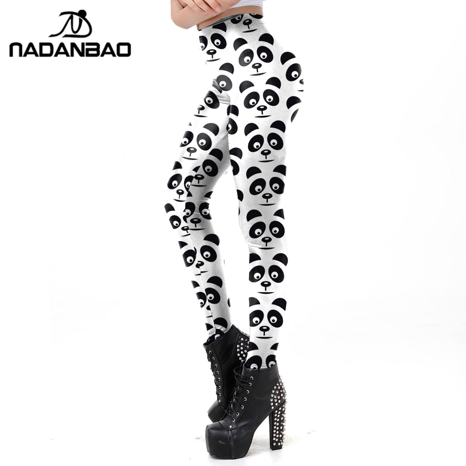 NADANBAO Black White Panda Women Leggings Fashion Cute Printed Workout Pants Slim Elastic Mid Waist Leggin Fitness Pants