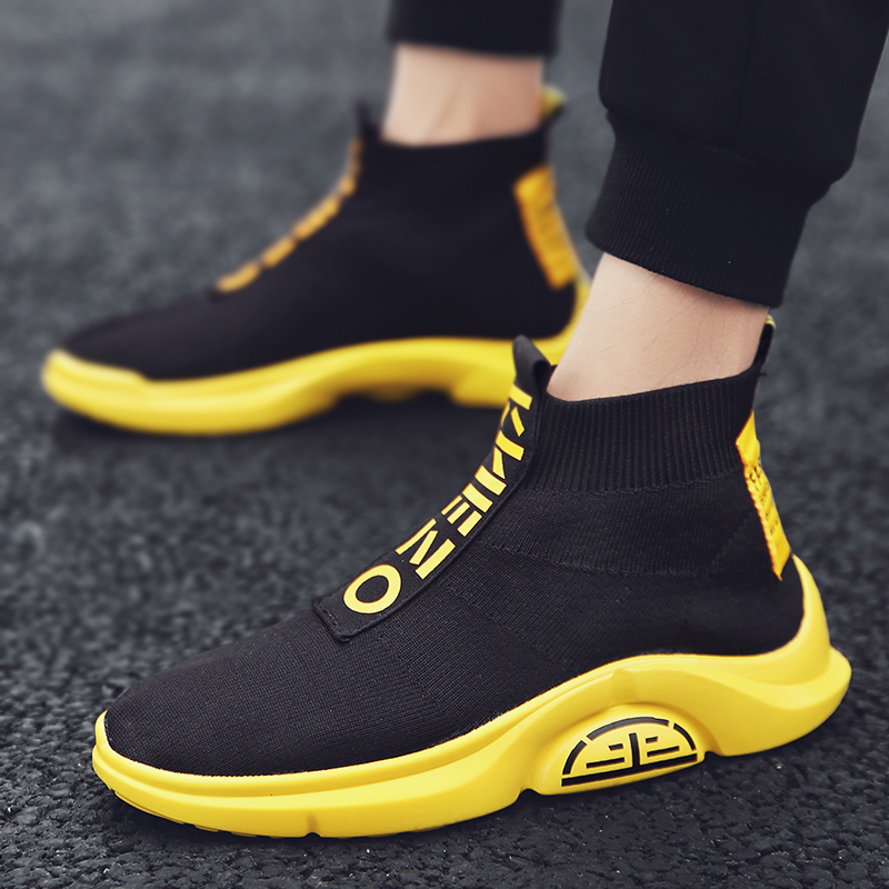 Fashion High Top Casual Shoes Men Breathable Flats Mens Casual Slip On Platform Shoes Men Sock Walking Footwear Man zapatos 2019-in Men's Casual Shoes from Shoes
