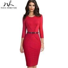 NICE FOREVER Elegant สีทึบสำนักงาน vestidos ทำงานผู้หญิง Bodycon ชุดฤดูใบไม้ร่วง B552