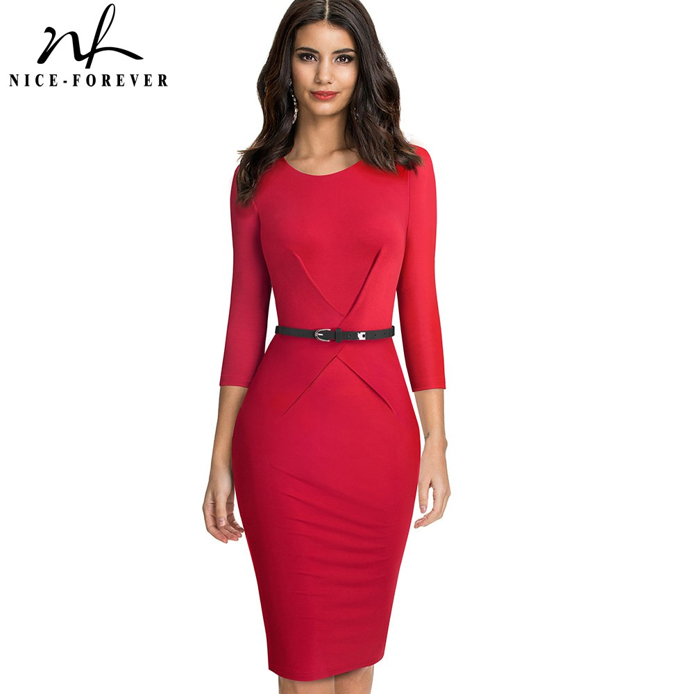 Nice-forever Elegant Brief Solid Color Office Vestidos Business Work Party Women Bodycon Autumn Dress B552