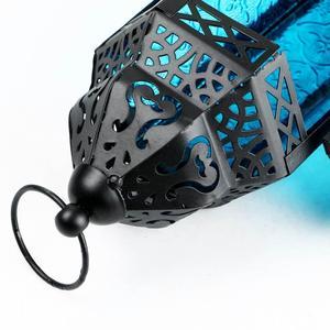 Image 4 - Exotische Delight Marokkaanse Glas Metalen Lantaarn Tuin Kaarshouder Tafel/Opknoping Lantaarn Feesten En Bruiloften Paars Kandelaar