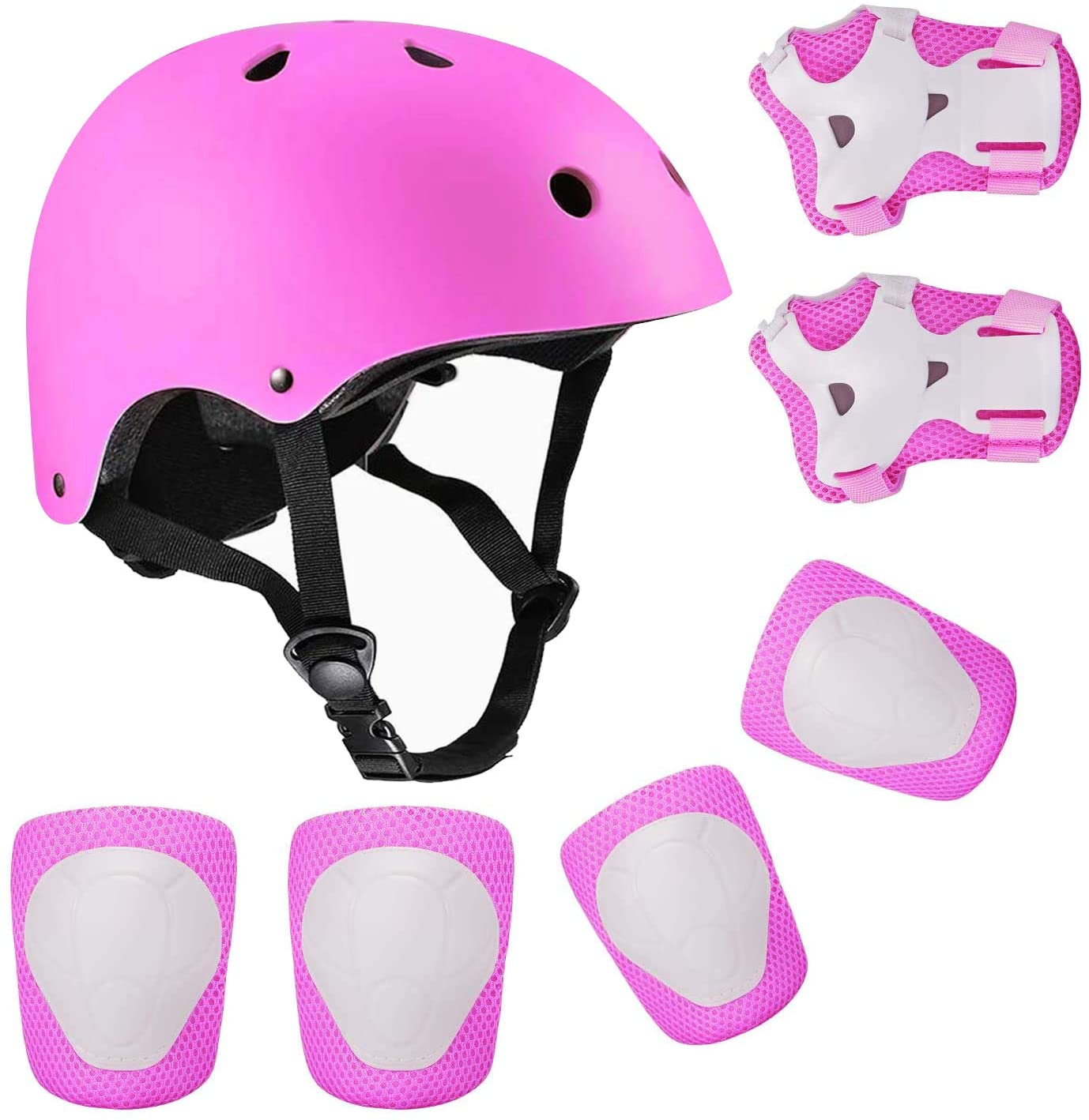 Child Protective Set Knee Pads Elbow Pads Wrist Helmet Protector Skating Roller Bike Protective Gear Sets For Kids Safety Cap