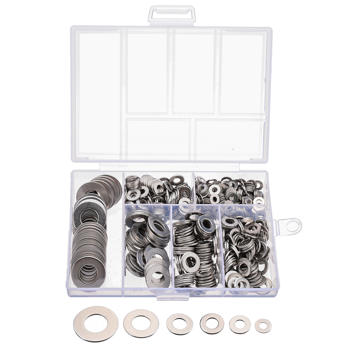 660pcs/set M3 M4 M5 M6 M8 M10 Stainless Steel Flat Washer Plain Gasket Spacers Kit Screw Bolt Fastener image