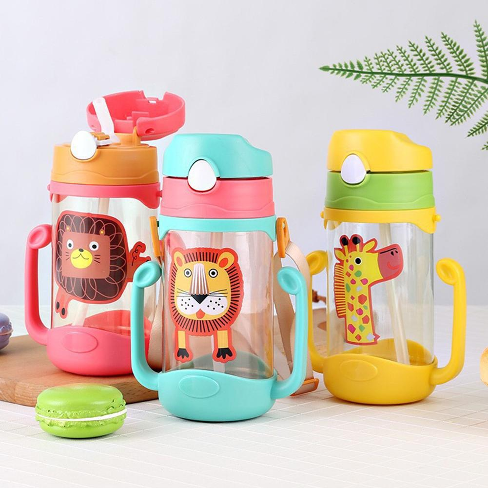 400ml Cartoon Portable Baby Feeding Water Drink Straw Water Bottle Sippy Cup With Lanyard Learning Drinking Tritan Bebe