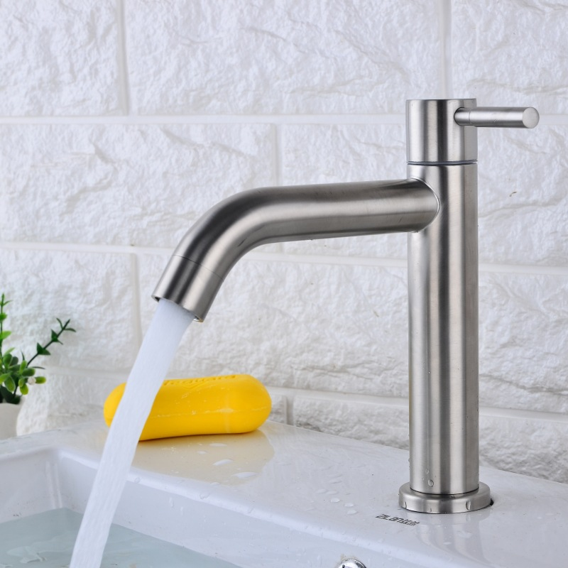 304 Stainless Steel Tap Single Cold Faucet Bathroom Toilet Drop in Sink Wash Basin Single Cold 4 Points Basin   - title=