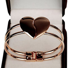 Bangles Sale 2019 Double Heart Bracelet Matte Love Bright Jewelry Fashion Alloy Frosted Heart-shaped Glossy Golden Temperament(China)