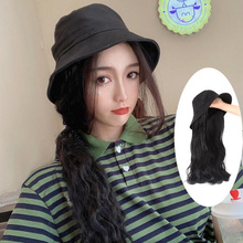 New  Synthetic Hair Bucket Cap Extension Fashion Long Curly with Baseball Flexiable Caps Female