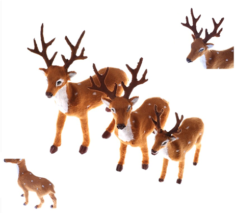 Simulation Christmas Deer Fairy Garden Miniatures Props Christmas Elk Plush Reindeer Natale Ingrosso Christmas Decoration