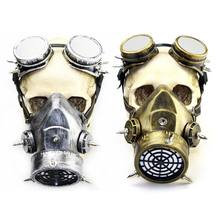 Halloween Gas Maske Steampunk Gas Maske Spikes Skeleton Krieger Dead Maske Cosplay Kostüm Requisiten(China)
