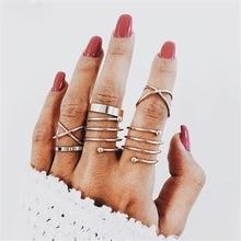 1Set Cool Ring Set Women Retro Little Finger Ring Fashion Joint Ring Chic Ring Gift retro style engraving rose shape women s finger ring