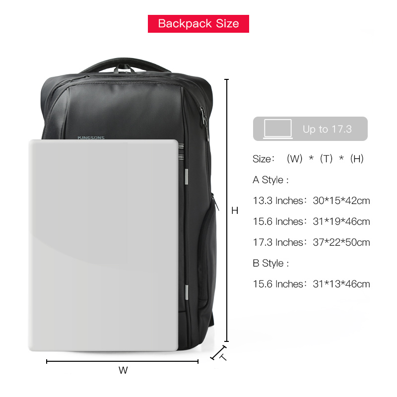 Image 2 - KINGSONS Wear resistant Men Women Fashion Backpacks for Business  Trip School Bags 13 15 17 Inches Laptop Backpack 2019 NEW  SELLBackpacks