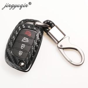 Image 2 - jingyuqin Carbon Fiber Car Silicone Key Case For Hyundai Creta I10 I20 Tucson Elantra Santa Fe 3 Button Remote Flip Fob Cover