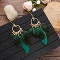 Neue Runde Perlen Feder Quaste Ohrringe frauen Temperament Mode Einfache Bohemain Ethnische Lange Ohrringe
