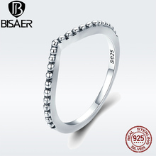 BISAER 925 Sterling Silver Engagement Female Ring Water Drop Droplet Finger Rings for Women Sterling Silver Jewelry GO7648 bisaer silver rings 925 sterling silver pet french bulldog open finger ring for women silver ring fashion jewelry hsr411