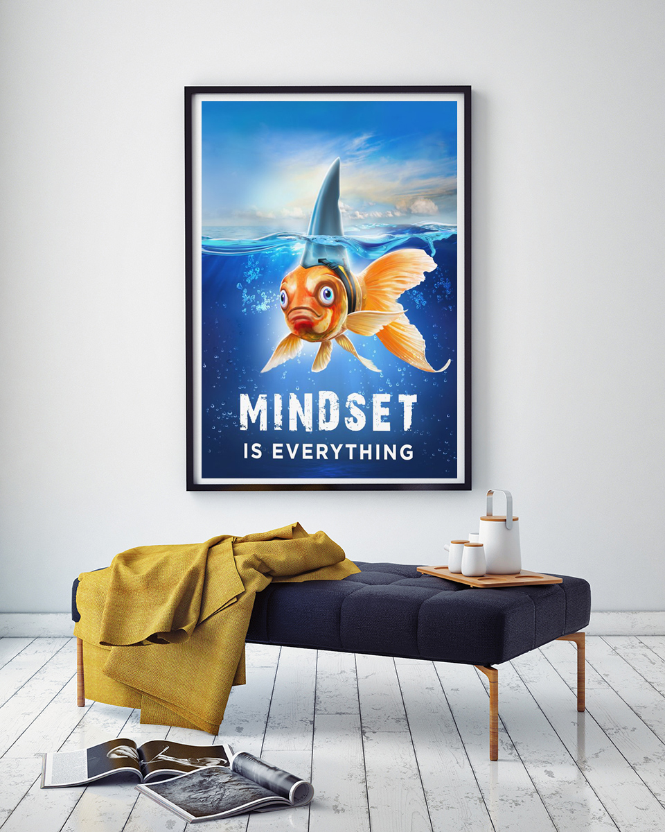 Modern Mindset is Everything Inspirational Wall Art Goldfish Motivational Posters Entrepreneur Office Wall Decor Quotes Artwork image