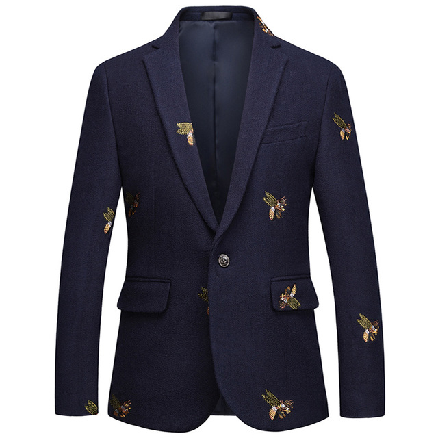 2020 New Fashion Men's Business Casual Cloth Embroidery Large Size Suit Stage Slim Dress Small Suit Men's Clothing SIZE M-6XL