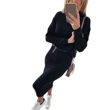 Women 2 Piece Set Knitted Long Sleeve Tops And Hip Skirt Autumn Casual Turtleneck Outfits Fashion Female Black chandal mujer D30