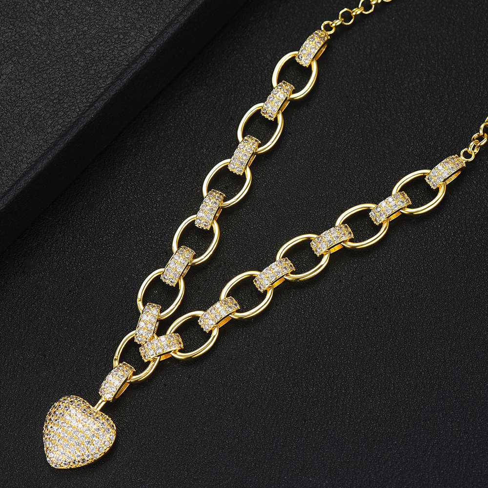 GODKI Trendy Herz Charme Halskette Anhänger Für Frauen Hochzeit Braut Cubic Zirkon Shell Dubai PARTY HOCHZEIT Schmuck BOHO2019