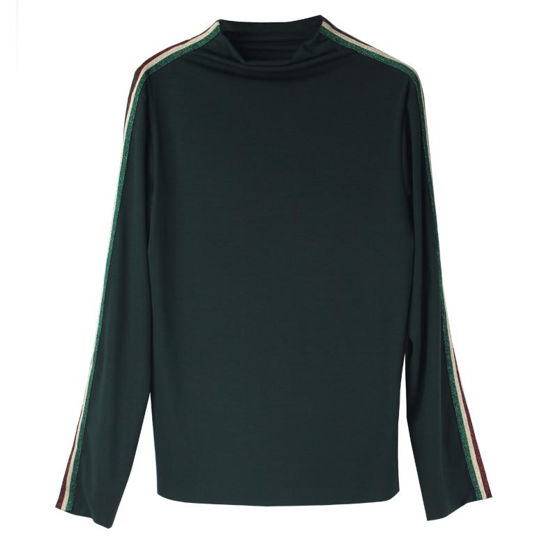 Haut basique t-shirts hiver automne grande taille femme col roulé décontracté tout match hauts vêtements femme
