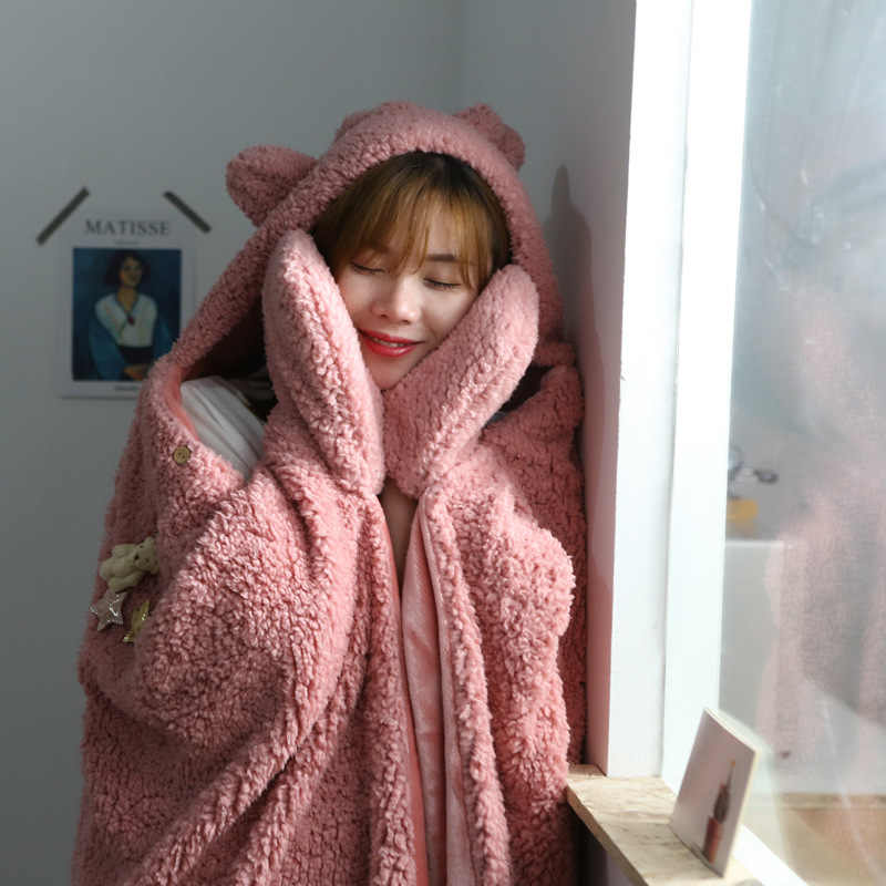 Winter Warm Tv Pocket Hooded Blankets Adults Bathrobe Sofa Cozy Blanket Sweatshirt Solid Plush Coral Fleece Blankets Outwears Blankets Aliexpress