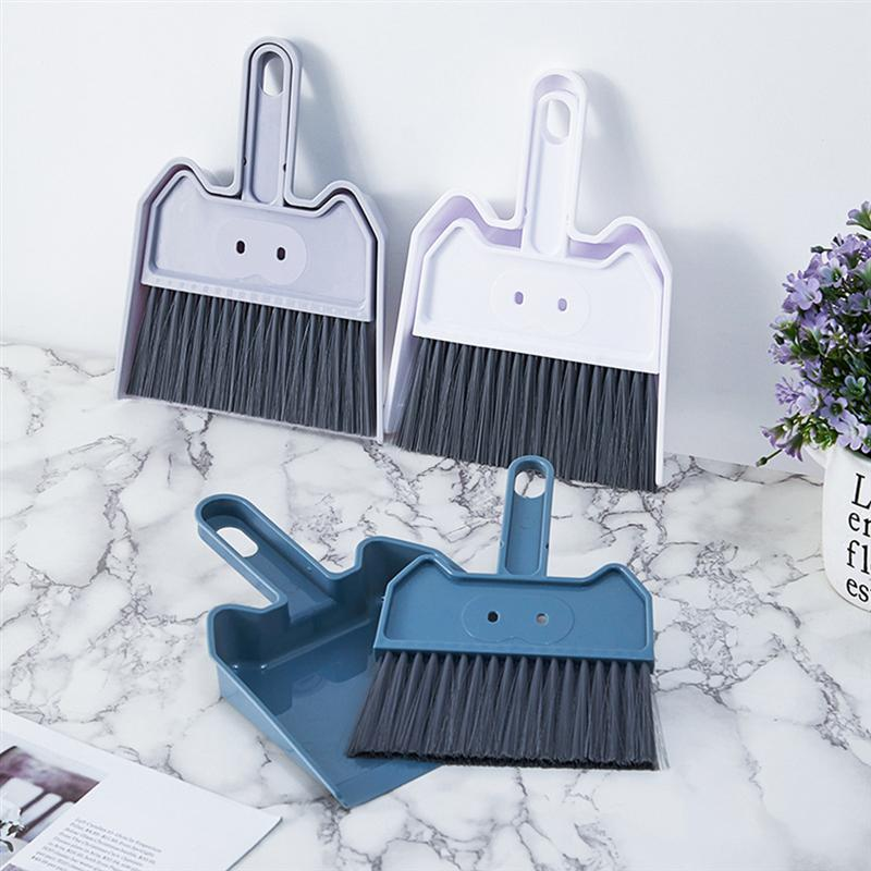 2 Sets White Cute Mini Broom And Dustpan Plastic Keyboard Sweeping Tool Computer Dust Remover Cleaner For Home Desktop Cleaning