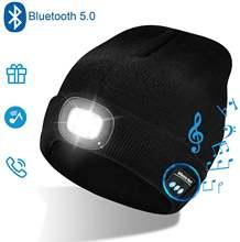 Bluetooth шапка бини светодиодный головной убор унисекс беспроводной