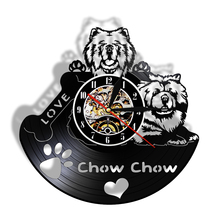 Wall-Clock Watch Chow Chow Vinyl Record Silent Modern Love Fall for Dog-Owner Dog-Breed-Gifts