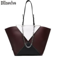 DIINOVIVO Panelled Women Tote Bag PU Leather Handbag Lady Patchwork Shoulder Female Brand Designer Chain Handbags WHDV1298