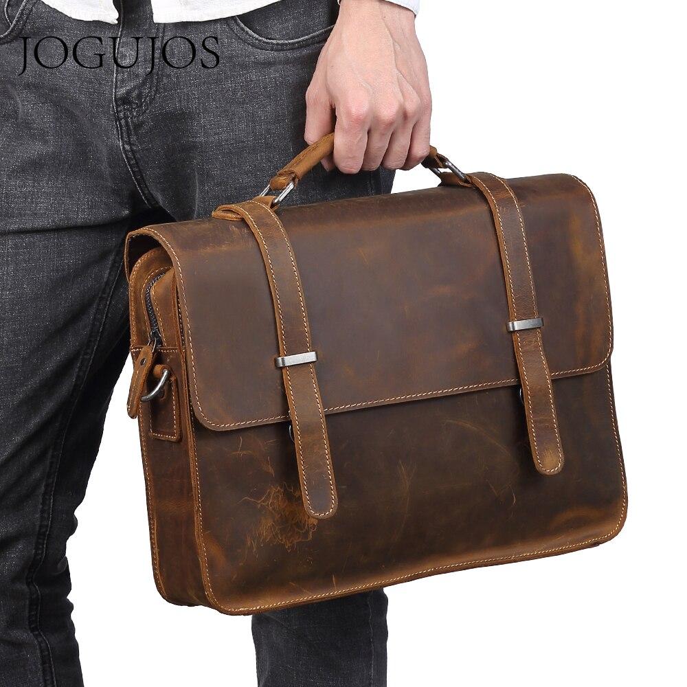JOGUJOS Luxury Leather Men's Briefcase Genuine Leather Man Briefcases Bag Male Crossbody Shoulder Bag Men Laptop Office Bag