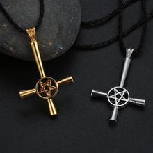 CHENGXUN Cross Pentagram Star Pendant Necklace for Men Stainless Steel Lucifer Satan