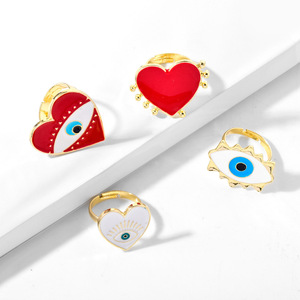 2019 New Adjustable Gold Red Heart Evil Eye Fashion Rings for women female popular cute evil eye love heart gold ring jewelry(China)