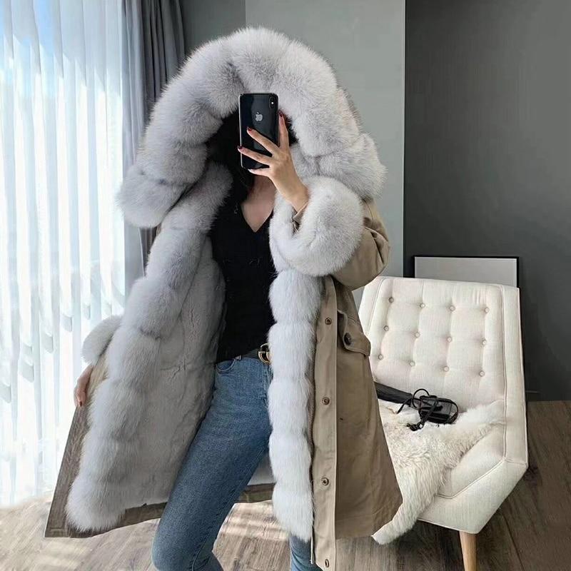 OFTBUY 2019 Real Fur Coat Winter Jacket Women Long Parka Natural Fox Fur Collar Hood Rex Rabbit Fur Lining Detachable Streetwear