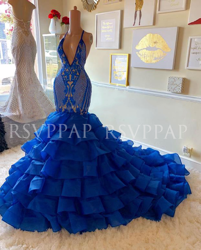 Royal Blue Mermaid Long Prom Dress 2020 Real Pictures Tiered Organza Sexy Sequin Top V\Deep V-neck Backless African Prom Dresses