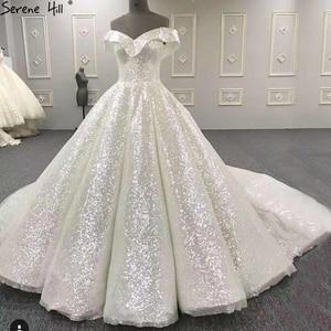 Image 1 - 2020 חדש ללא שרוולים Sparkle חתונת שמלות כבוי כתף סקסי אופנה בציר כלה שמלת תמונה אמיתית HA2265