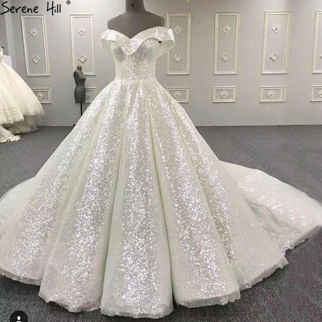 2020 neue High end Sleeveless Sparkle Hochzeit Kleider Off Schulter Sexy Mode Vintage Brautkleid Echt Bild HA2265