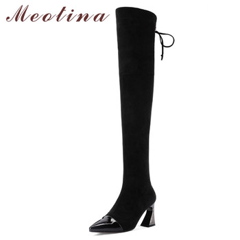 Meotina Winter Thigh High Boots Women Genuine Leather Strange Style High Heel Over The Knee Boots Zip Pointed Toe Shoes Lady 39