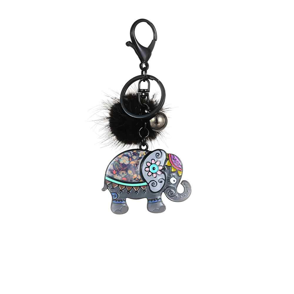 Cring Coco Bonito Elefante Chaveiro Anel Titular Acessórios Esmalte Bugigangas Animais Carro Bolsa Pingente Chaveiros para Mulheres Dos Homens