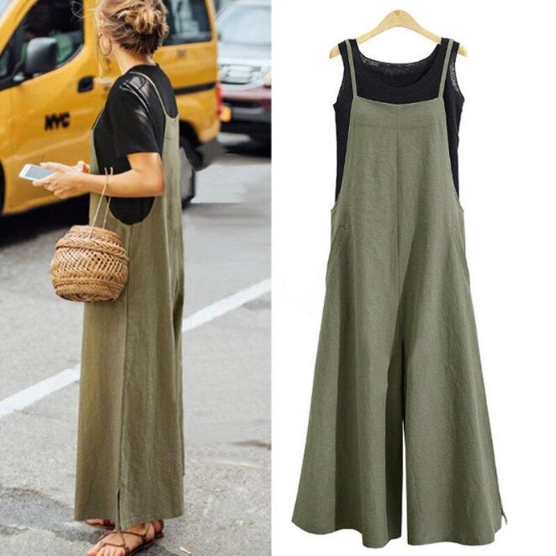 Women Cotton Linen Loose Casual Jumpsuit Plus Size 5XLWide Leg Rompers Spaghetti Straps Dungaree Bib Overalls