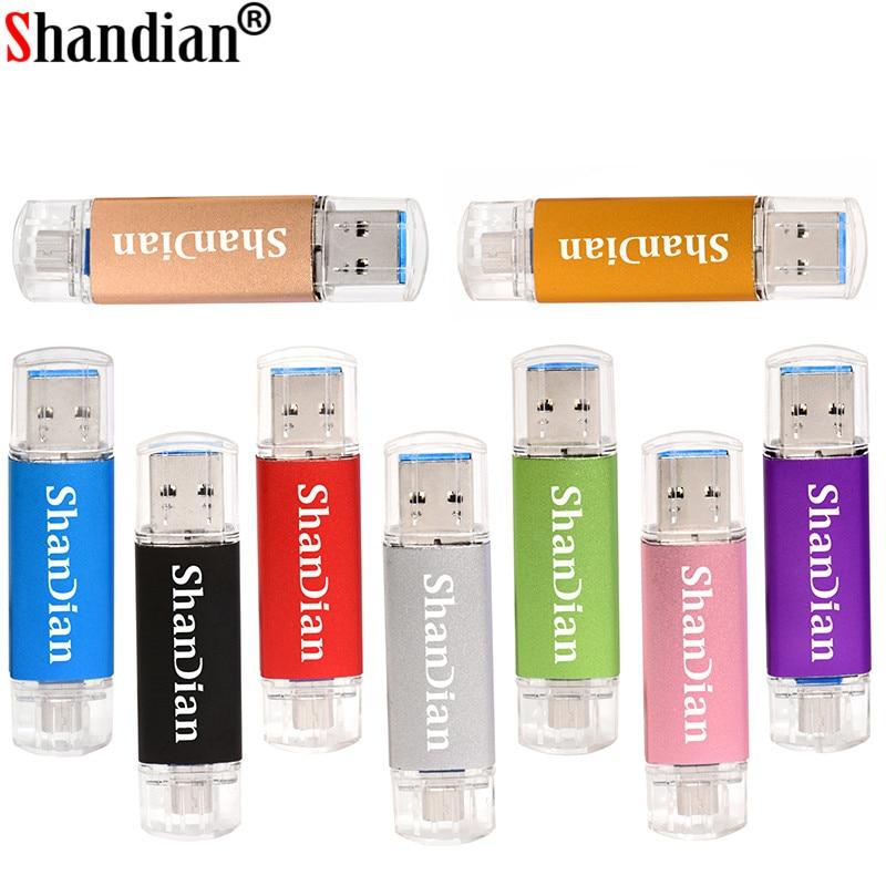 SHANDIAN USB Flash Drive OTG High Speed Drive 64 GB 32 GB 16 GB 8 GB 4GB External Storage Double Application Micro USB Stick